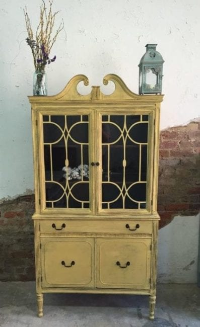 mudpaint furniture paint yellow hutch