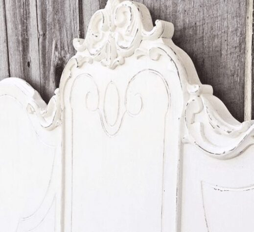 headboard distressed with mudpaint white clay furniture paint color