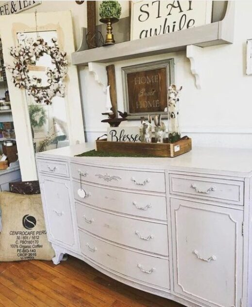large buffet painted with mudpaint clay furniture paint gray buffet
