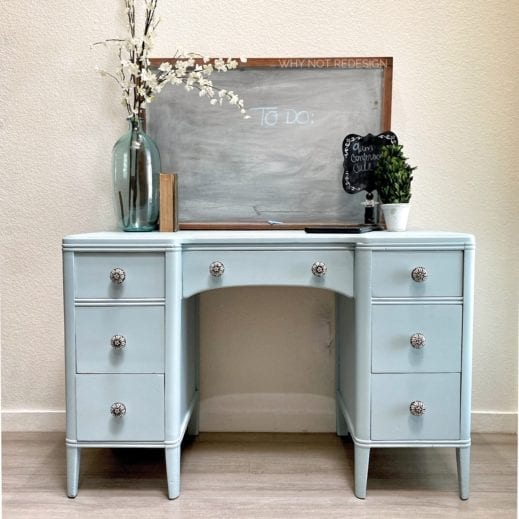 bureau dresser painted in light blue Mudpaint clay furniture paint