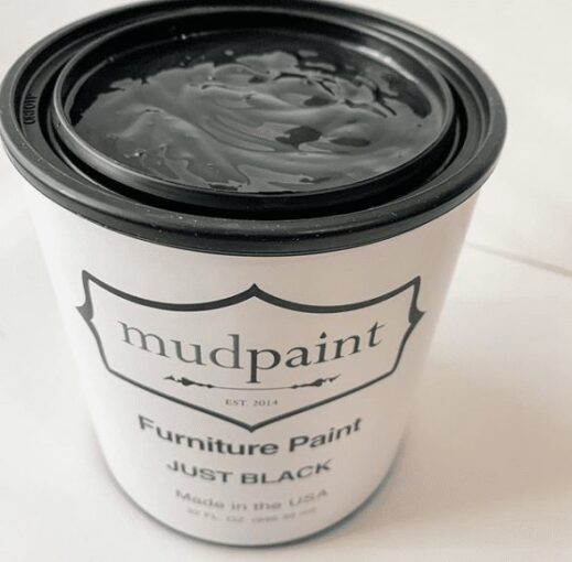 open container of a quart of black clay furniture paint