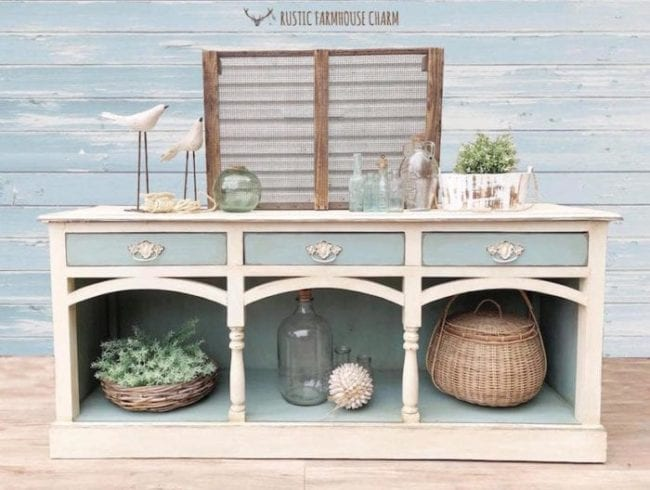White and Blue Mudpaint Furniture Paint