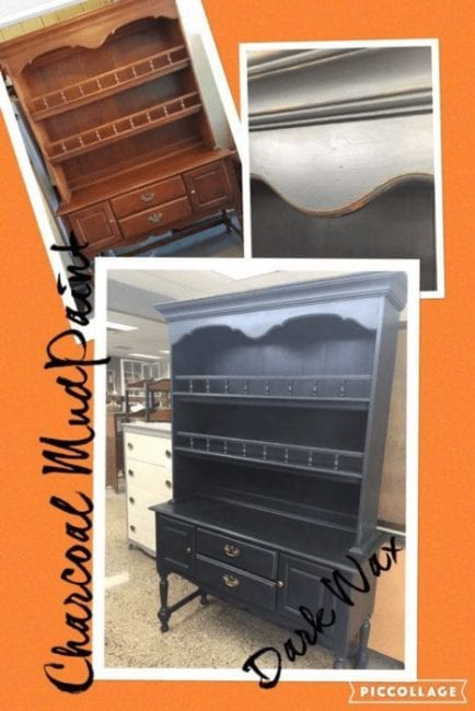 mudpaint furniture paint painted hutch before and after picture