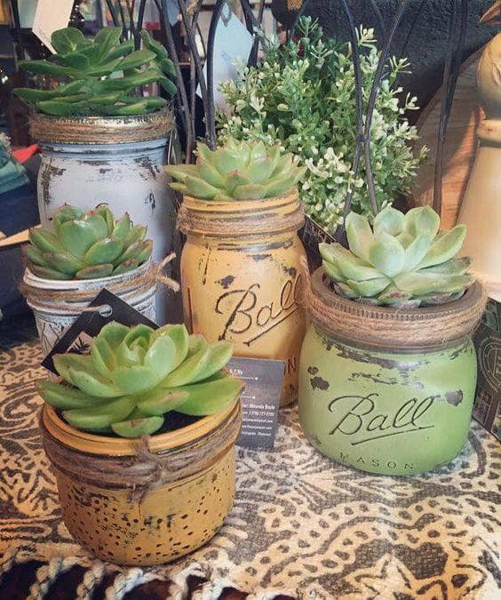 Painting Succulent Jars with MudPaint Clay Paint