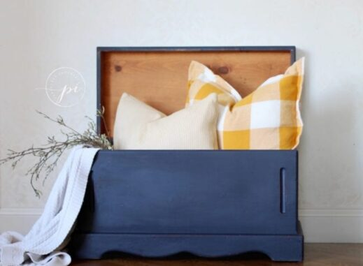 large chest painted in dark blue navy mudpaint clay furniture paint