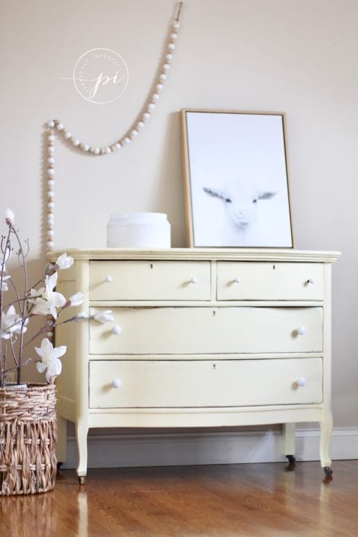large dresser painted in straw light yellow Mudpaint clay furniture paint