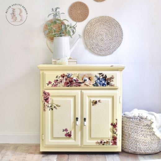 a small nightstand painted in straw, light yellow mudpaint clay furniture paint