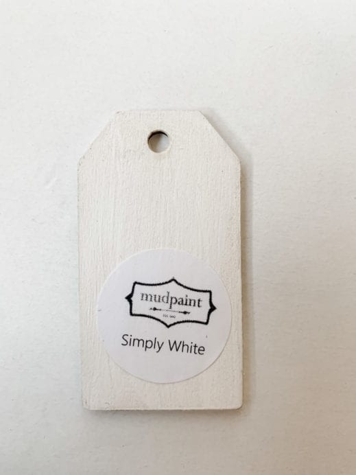 Small wooden tag hand painted with pure white clay furniture paint