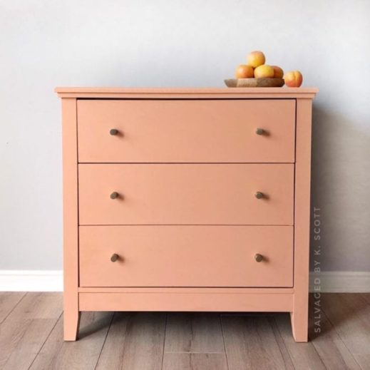 large dresser painted in pink orange mudpaint clay furniture paint