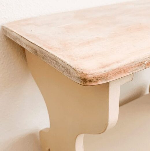 nightstand painted in tan clay furniture paint and finished on the top with white liming wax