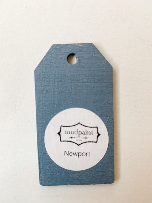 Small wooden tag hand painted with blue gray clay furniture paint