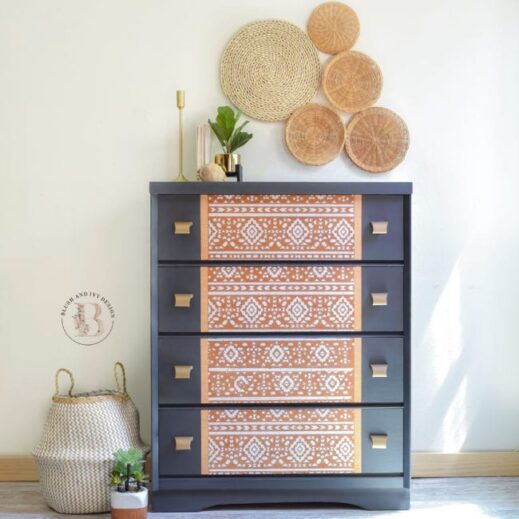 large dresser furniture piece painted in dark gray clay furniture paint