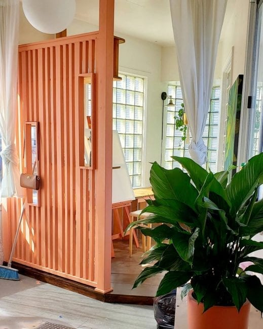 room divider painted in orange clay furniture paint