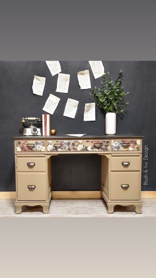 large desk painted with brown clay furniture paint