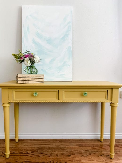 small desk painted with butternut yellow clay furniture paint
