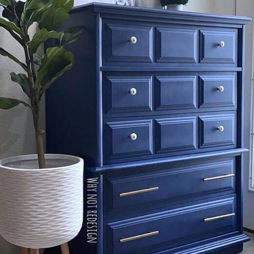 large dresser painted in royal blue clay furniture paint