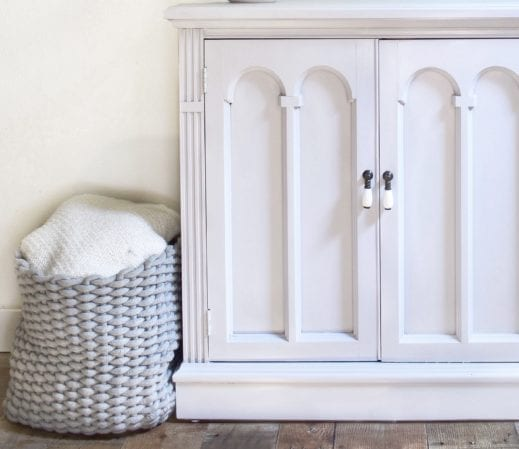 large painted cabinet in light gray clay furniture paint