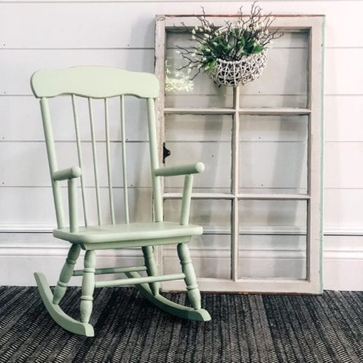 rocking chair painted with light green clay furniture paint