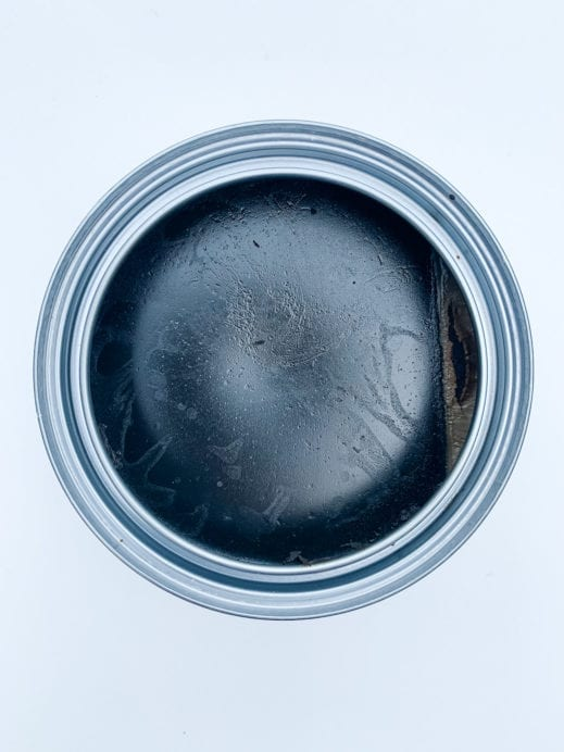 top view of open MudPaint black finishing wax for furniture