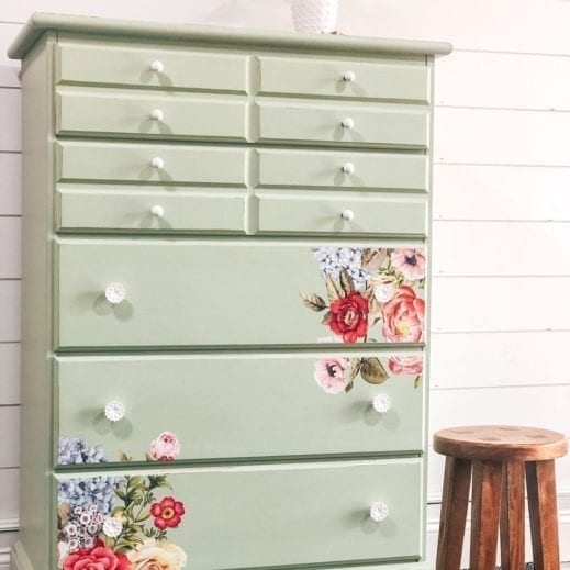 dresser painted with light green clay furniture paint