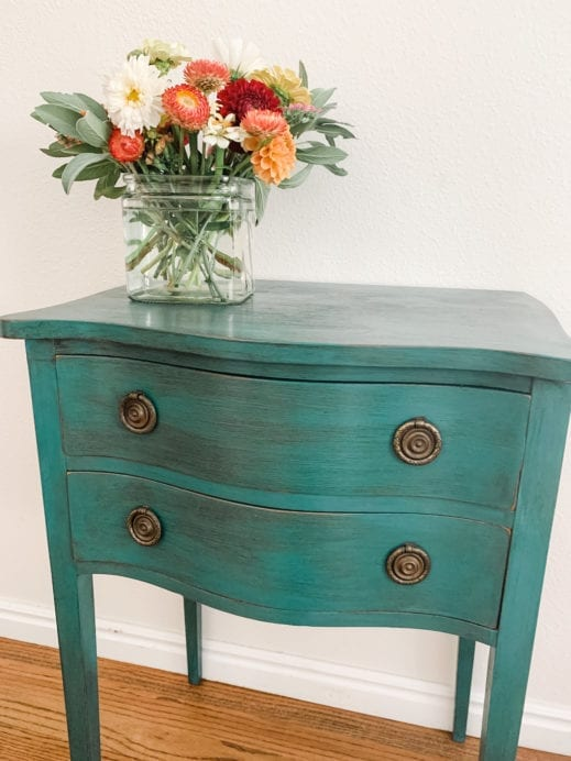 small night stand painted with teal clay furniture paint and then distressed with black furniture wax