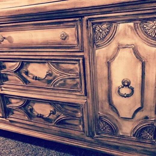 large dresser painted in off white clay furniture paint and distressed with dark wax