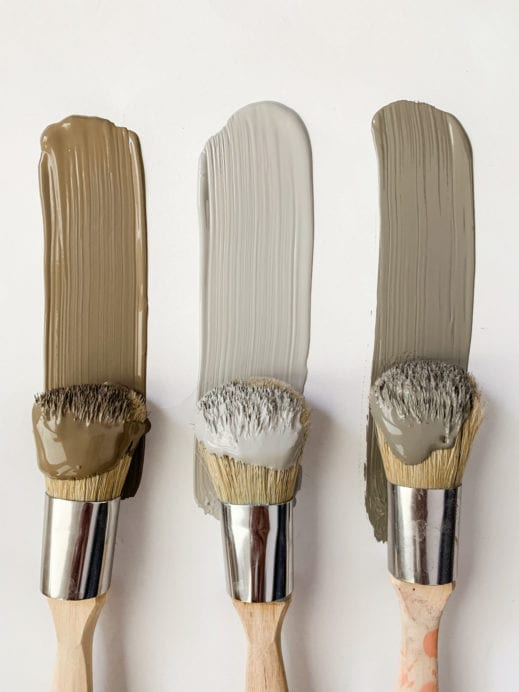 Three MudPaint brushes with shades of brown, gray and gray brown clay furniture paint