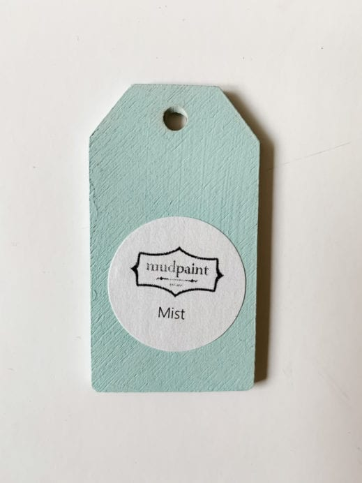 Small wooden tag hand painted with aqua clay furniture paint