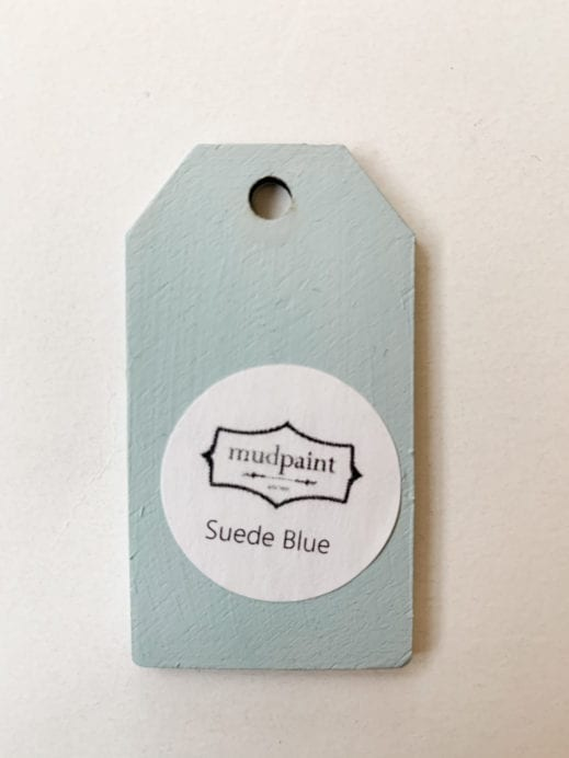 Small wooden tag hand painted with light blue clay furniture paint