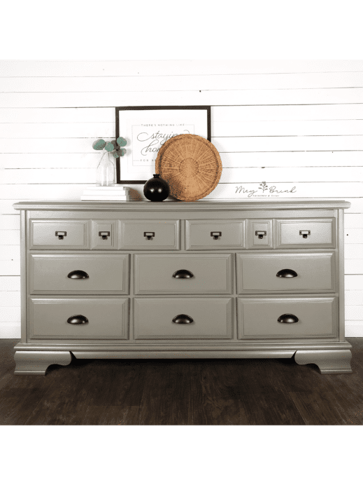 Large bureau painted in gray brown clay furniture paint