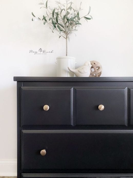 large dresser and chest of drawers that has been painted with MudPaint black clay furniture paint