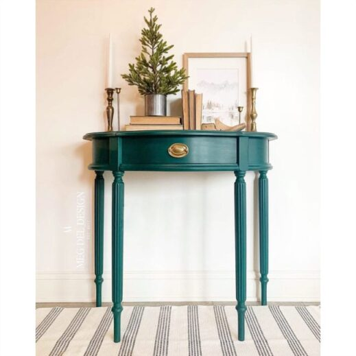 small nightstand painted in MudPaint forest green dark green clay furniture paint