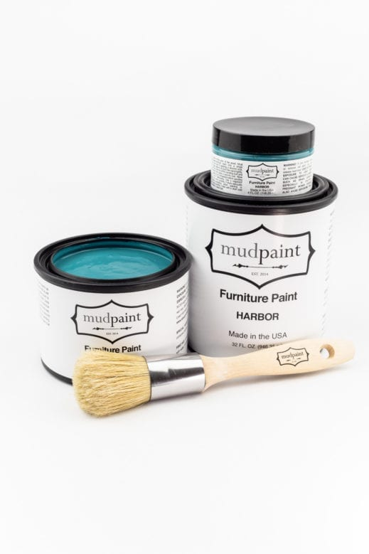 various containers of teal clay furniture paint by MudPaint
