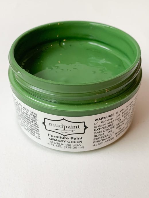 open container of grassy green mudpaint clay furniture paint