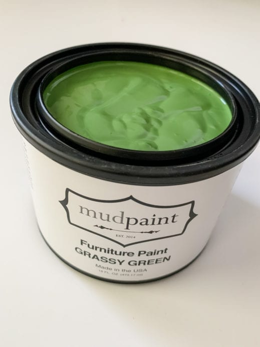 open pint container of grassy green mudpaint clay furniture paint