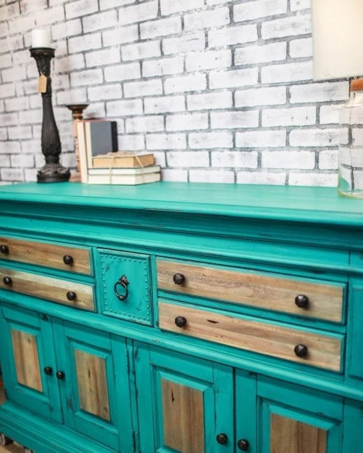 large dresser painted with turquoise clay furniture paint