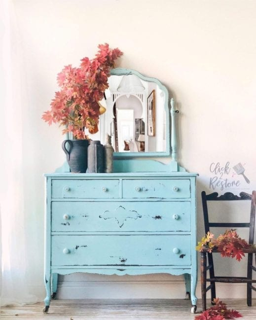 large dresser and mirror painted in mudpaint aqua clay furniture paint