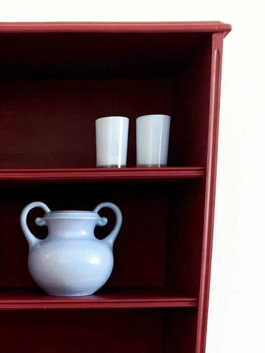 smal kitchen hutch painted in burgundy wine clay furniture paint