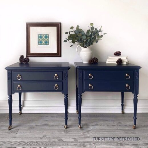 matching night stands painted in deep navy blue mudpaint clay furniture paint
