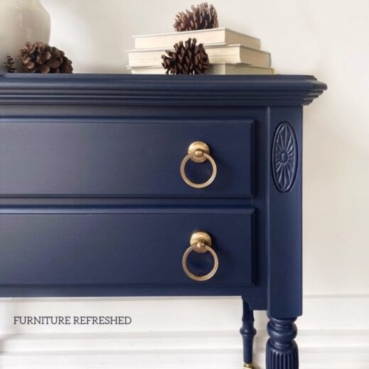 night stand painted in deep navy blue mudpaint clay furniture paint