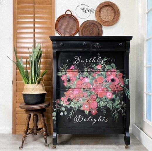 dresser painted with just black clay furniture paint by MudPaint