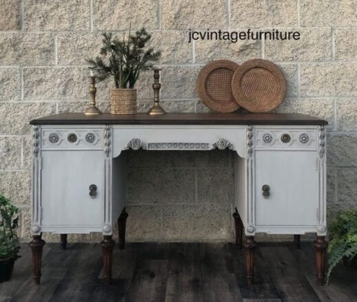 desk painted in gray clay furniture paint smoke color