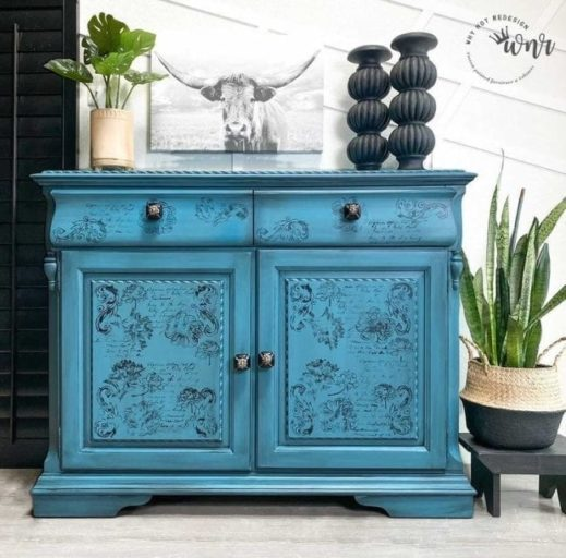 small hutch painted teal clay furniture paint