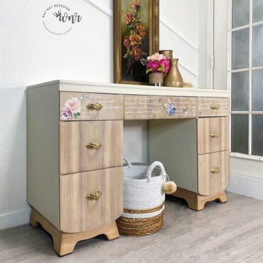small hutch painted in creamy white clay furniture paint by MudPaint
