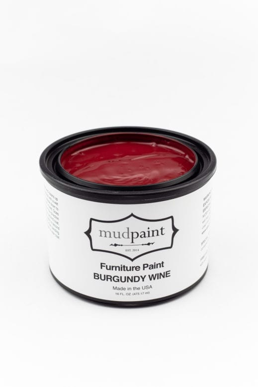 pint container of burgundy clay furniture paint