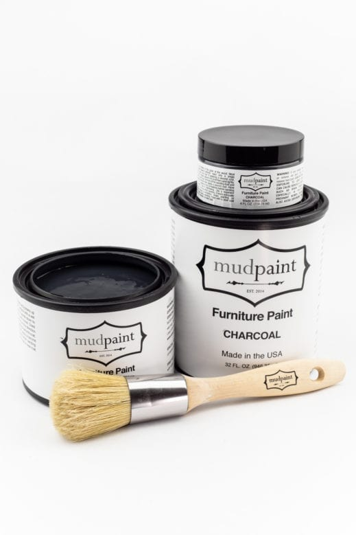 various sizes of dark gray clay furniture paint by MudPaint
