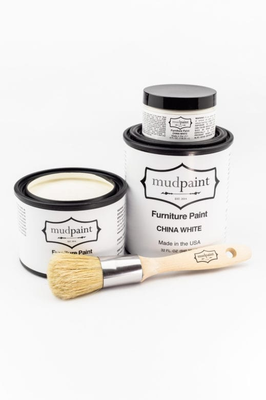 various containers of china white clay furniture paint by MudPaint