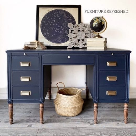 drewsser painted in dark navy mudpaint clay furniture paint