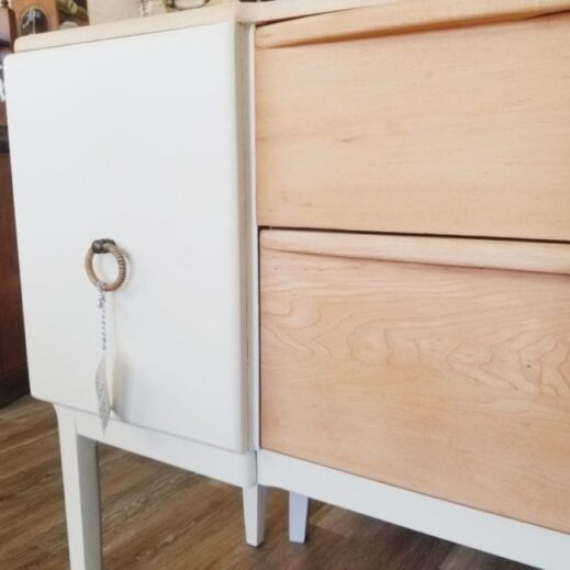 detailed view of drawer painted in creamy white manor white clay furniture paint from MudPaint