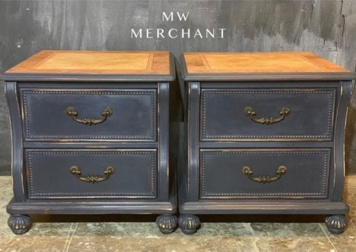 matching nightstands painted in dark gray clay furniture paint charcoal